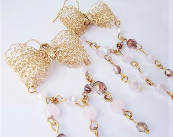 Gold Dangle Earrings Pink Crystal Bow, Handmade Earrings, Crocheted Formal Earrings
