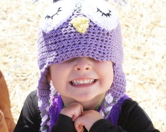 Owl Hat, Ear Flap Hat, Crochet earflap hat, Crochet Owl Hat, Hat with Ears, Owl Ears, Owl Earflap, Crochet Winter Hat, Warm Hat, Animal Hat