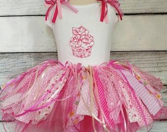 Pink shabby chic scrap tutu, first birthday tutu set, cupcake tutu set, vintage tutu set, rustic tutu set