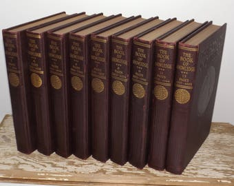 Antique dark brown books,set of 9,Book of Knowledge,1931,Grolier Society,Childrens Encyclopedia,gold lettering,ornate book,old brown books