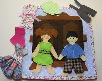 Felt Paper Doll non paper doll felt doll dress up doll  Toy Play Clothes Set Toddler Toy  Preschool Felt Doll Set