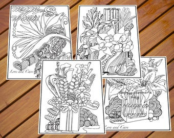 Flower Colouring Page_ It is great for Personalised gifts for mothers and friends.  High quality Printable materials - easy to download