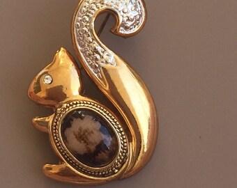 Adorable Vintage Squirrel  With Stone Body Brooch
