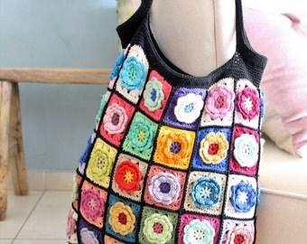 Crochet bag, crochet handmade bag, handmade tote bag, colorful shoulder bag, colorful bag, knitted bag