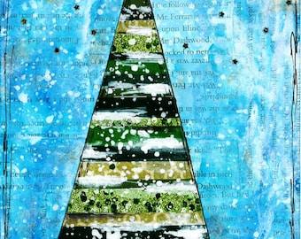 Mixed Media Christmas Tree Card - Set of 10