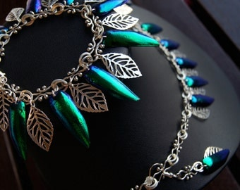 Silver Leaf Jewelry Set with Beetle Wings (Elytra)