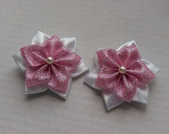 2 x pink flower Barrette and hair kanzashi/Fleur kanzashi/Ribbon satin white/clip
