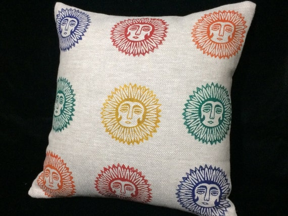 Natural linen pillow cover  with lady sun pattern, block printed decorative cushions , Irish linen , cottage style