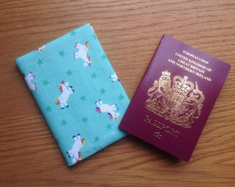 Unicorn / Rainbow Fabric Passport Cover / holder / Case.  To hold 2 passports or cover 1. Fabric Design requests taken.  Mint rainbow colour