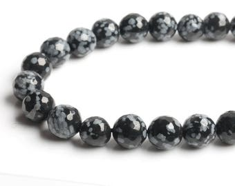 Faceted Snow Flake Obsidian Beads, Full Strand 15.5 inch, Round Obsidian Stone, Gemstones, 4mm 6mm 8mm 10mm 12mm - B209