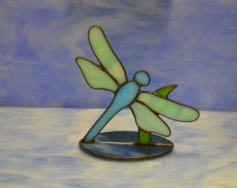 Stained Glass Dragonfly Suncatcher Decoration Hand made
