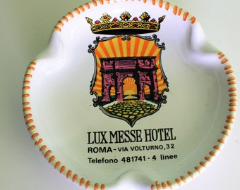 Vintage Ceramic Porcelain Lux Messe Hotel Ashtray Roma Italy, Italian Pottery Ashtray