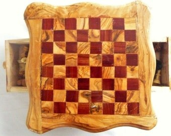 Vintage Hand Made Wood Chess Set, Chess Board With Storage, Wooden Chess Set, Wooden Chess Board