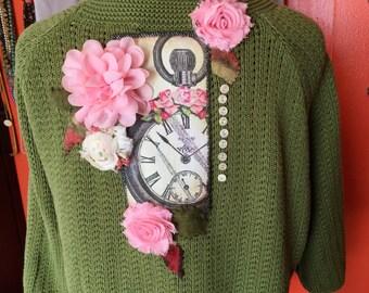 Upcycled Womens Clothing - Plus Size Green Sweater - Romantic Boho Gypsy Chic Fashion