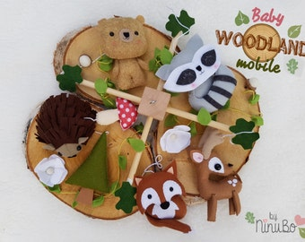 Woodland Baby Mobile- Forest Mobile- Cot/Crib Mobile - Hanging Mobile - Fox- Raccoon- Deer- Hedgehog- Bear