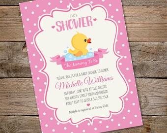 Duck Baby Shower Invitation, INSTANT DOWNLOAD baby shower Invitation, Rubber duck, Girl Baby Shower Invitation, Edit with Adobe Reader