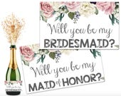 Will You Be My Bridesmaid Mini-Champagne Bottle Labels - DIY - DIGITAL FILE - Printable Champagne Labels - Bridesmaid Proposal - Gift