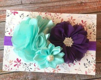 Purple and Aqua Headband/Baby Headband/Newborn Headband/Purple Headband/Aqua Headband/Toddler Headband/Birthday/1st Birthday/Girls Headband