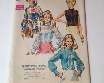Vintage Cut 1970s Simplicity 8594 Sewing Pattern High Neck Misses Blouse Size 10 Bust 32.5