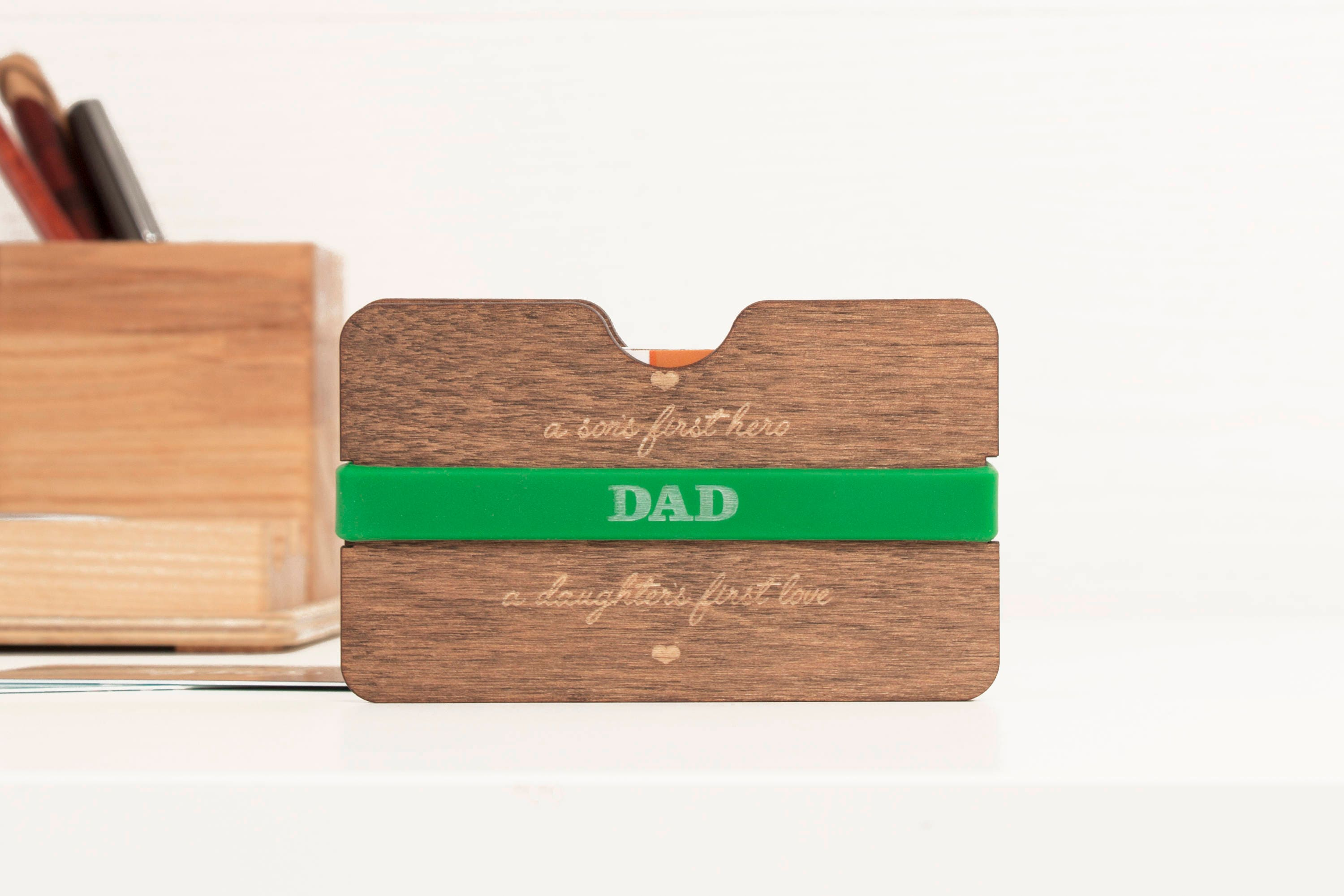 Business Card Holder Gift For Dad Wood Men Father