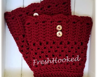 Crochet Scalloped Boot Cuffs in Cranberry, Boot Topper, Red, with buttons