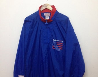 Vintage OverSize World Cup USA 94 Lightweight Jacket/World Cup Usa 94 Big Logo HalfZip Windbreaker by Apex One/Blue/Size XL