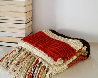 Soft knitted blanket with fringe , throw with fringe