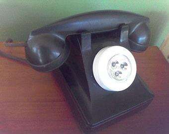 Vintage Dial Phone Desk lamp,old telephone, black,Rotary,Bake-lite,Night light