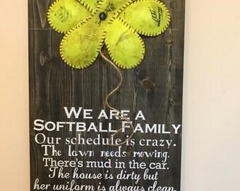 We are a softball family softball flower sign