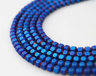 Faceted Plated Hematite Round Loose Beads.  Blue Size:4m 15.5'' Long Per Strand。R-F-HEM-0117