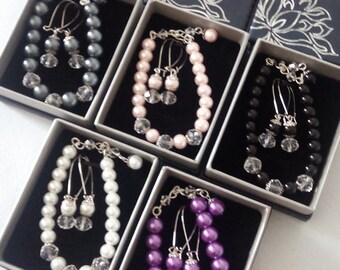 Bridesmaid Jewelry Set of 4, Set of 5, Set of 6, Set of 7, Set of 8 - Bridesmaid Earrings and Bracelet