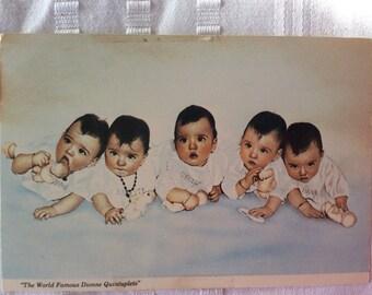 Vintage Dionne quints postal card Memorablia unused