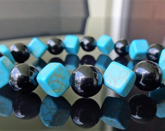 """Genuine Turquoise Howlite Cubes & Black Onyx Bead Bracelet for Men (On Stretch) 10mm AAA Quality - 8"""" inch"""