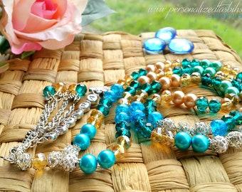 Personalized Tasbihs 4u, Islamic Gifts - Custom made Tasbeeh prayer beads - Eid Gifts Ramadan - Blues Golds Crystals