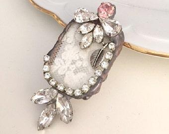 Vintage Lace pendant, Stained Glass pendant, Soldered Pendant, Lace Jewelry Soldered Glass Pendant,ooak pendant