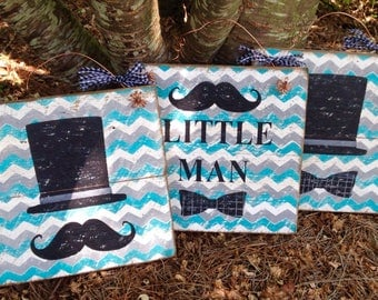 Rustic Barnwood, Little Man, Baby, Nursery, Chevron Signs
