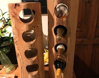 Solid Beech beam wine rack