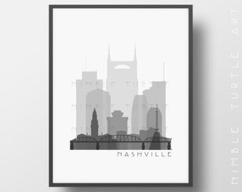 Nashville Skyline Printable Download  -  Black and White  -  Grayscale - Nashville Tennessee Gallery Wall Art