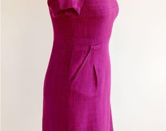 HOBBS Vintage Fucshia Pink Dress UK Size 8, Deep Fucshia Pink Dress, Mauve Pink Dress, Summber Mauve Dress