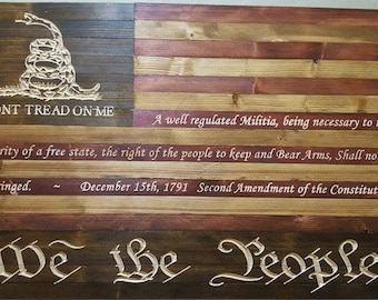 We the People Don't Tread on Me 2nd Amendment American Flag Sign Carved Re-claimed Lumber FREE SHIPPING