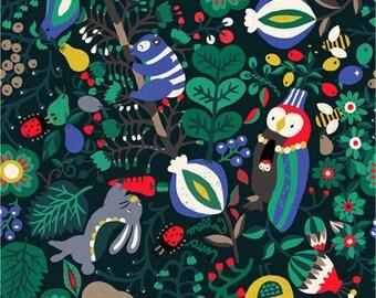Animal) Forest Friend Koala, Owl, Rabbit, Bird Fabric made in Korea by Half Yard
