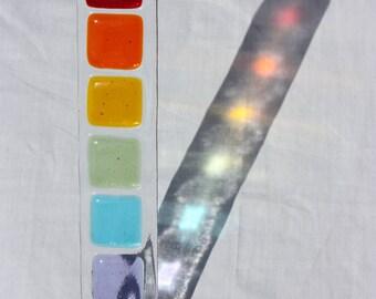 Rainbow fused glass sun catcher, glass rainbow suncatcher
