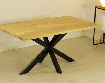 Oak/steel 2X dinning table
