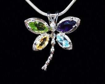 Dragonfly Multistone Silver Pendant