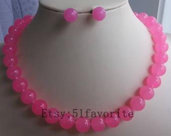 Jade necklace earring set - beautiful 12mm pink jade fashion wedding necklace & earrings set