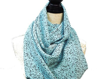 Infinity Scarf, Black Scarf, Blue Infinity Scarf, Mint Scarf, Turquoise Scarf, Geometric Scarf, Summer Scarf, Light Scarf