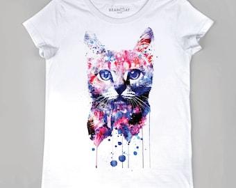 Cat galaxy women t-shirt