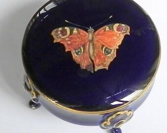 Beautiful boxer cabinet butterfly Porcelain Epiag Pirkenhammer cobalt blue box Czechoslovakia