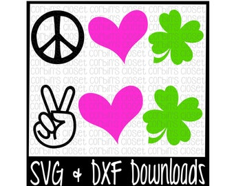 St Patricks Day SVG * Peace Love Luck * Clover Cut File - DXF & SVG Files - Silhouette Cameo, Cricut