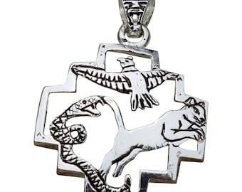 Peruvian Silver Chakana Pendant - Inca Cross - Condor - Puma - Snake - Inca Jewelry - Peruvian Jewelry - Silver Pendant - Peruvian Jewelry